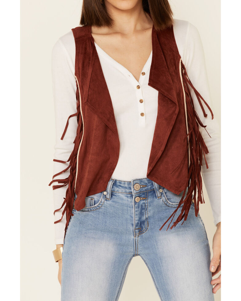 Shyanne Women's Rust Faux Suede Embroidered Fringe Vest, Rust Copper, hi-res