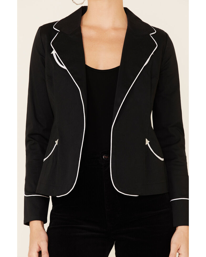 Rock & Roll Denim Women's Black Rodeo Contrast Piped Long Sleeve Blazer , Black, hi-res