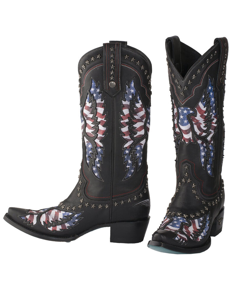 Lane Women's Old Glory Western Boots - Snip Toe, Black, hi-res