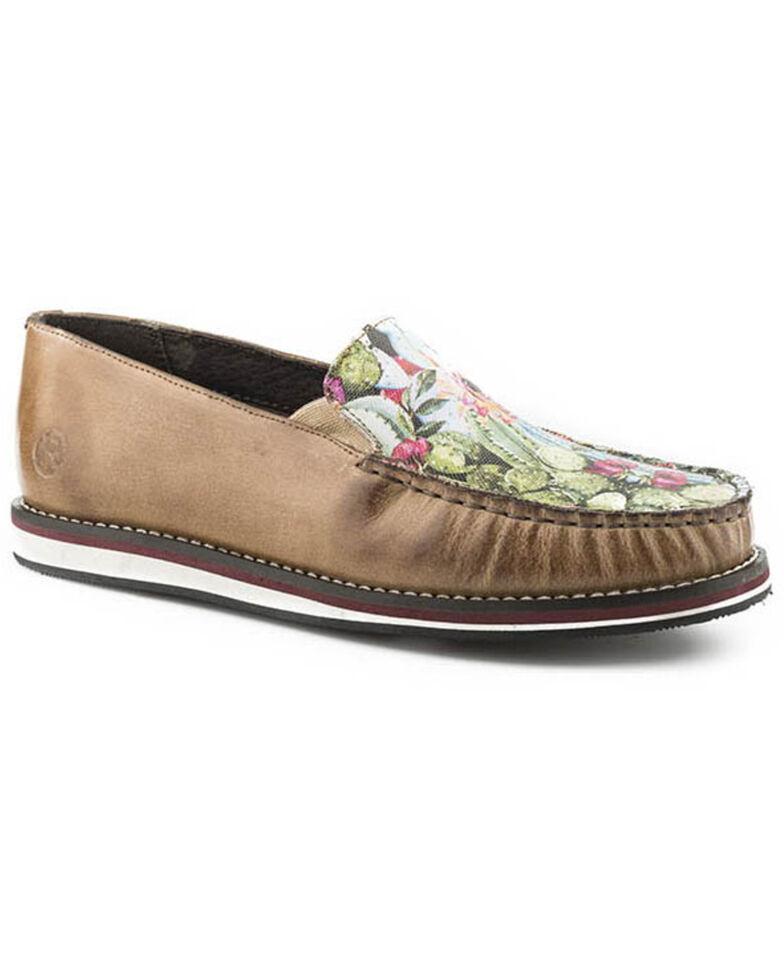 Roper Women's Burnished Tan Slip-On Shoes - Moc Toe, Tan, hi-res