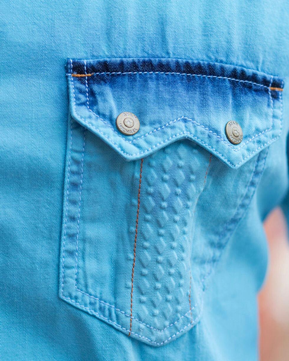 Ryan Michael Men's Neon Blue Tinted Indigo Shirt, Blue, hi-res