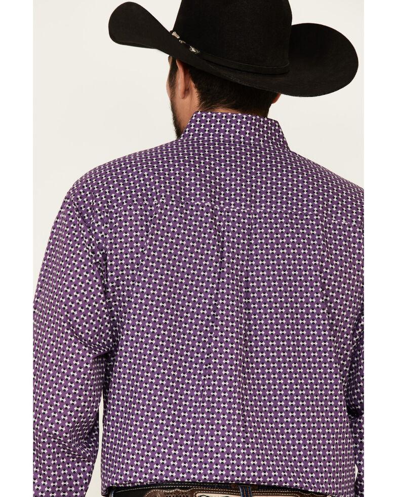 Cinch Men's Purple Aztec Geo Print Long Sleeve Button-Down Western Shirt - Big, Purple, hi-res