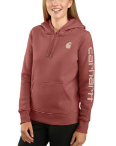 Carhartt Women's Claystone Heather Clarksburg Sleeve Logo Hooded Work Sweatshirt , Natural, hi-res
