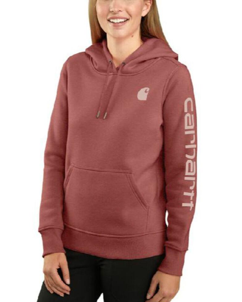 Carhartt Women's Claystone Heather Clarksburg Sleeve Logo Hooded Work Sweatshirt , Natural, hi-res