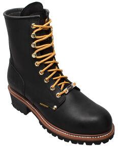 """Ad Tec Men's 9"""" Waterproof Logger Work Boots - Soft Toe, Black, hi-res"""