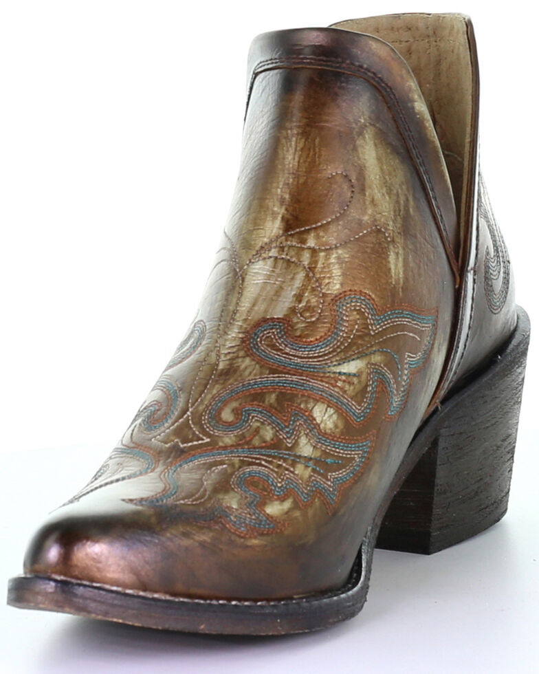 Corral Women's Copper Shortie Fashion Booties - Round Toe, Brown, hi-res