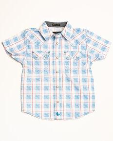 0e41a034d Cody James Toddler Boys Crooks Cross Plaid Short Sleeve Western Shirt ,  White, hi-