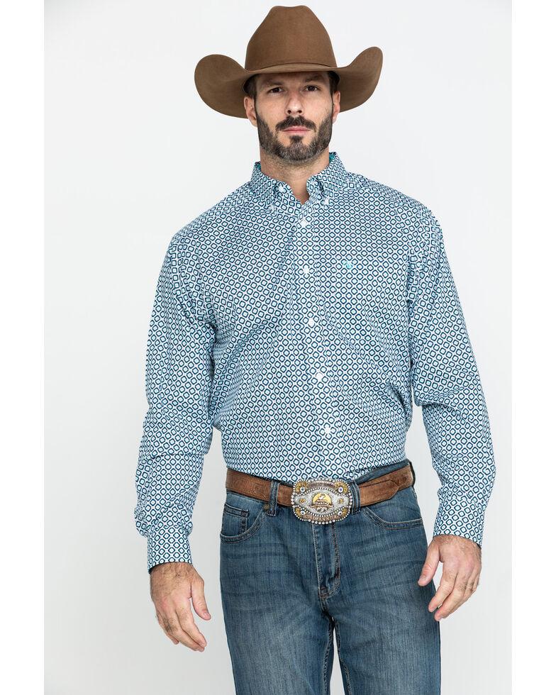 Ariat Men's Wrinkle Free Porterville Aztec Geo Print Long Sleeve Western Shirt , White, hi-res