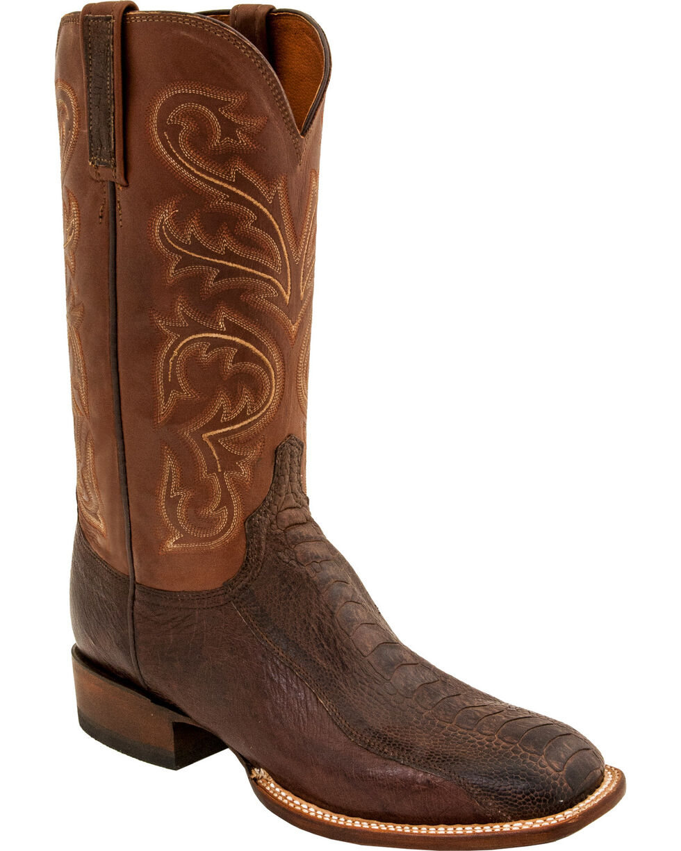 Lucchese Men's Handmade Burnished Ostrich Exotic Boots - Square Toe, Brown, hi-res