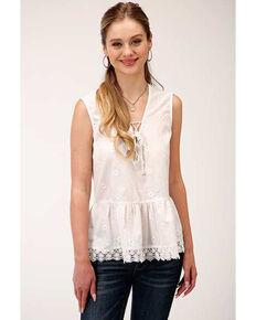 Five Star Women's White Embroidered Sleeveless Blouse, White, hi-res