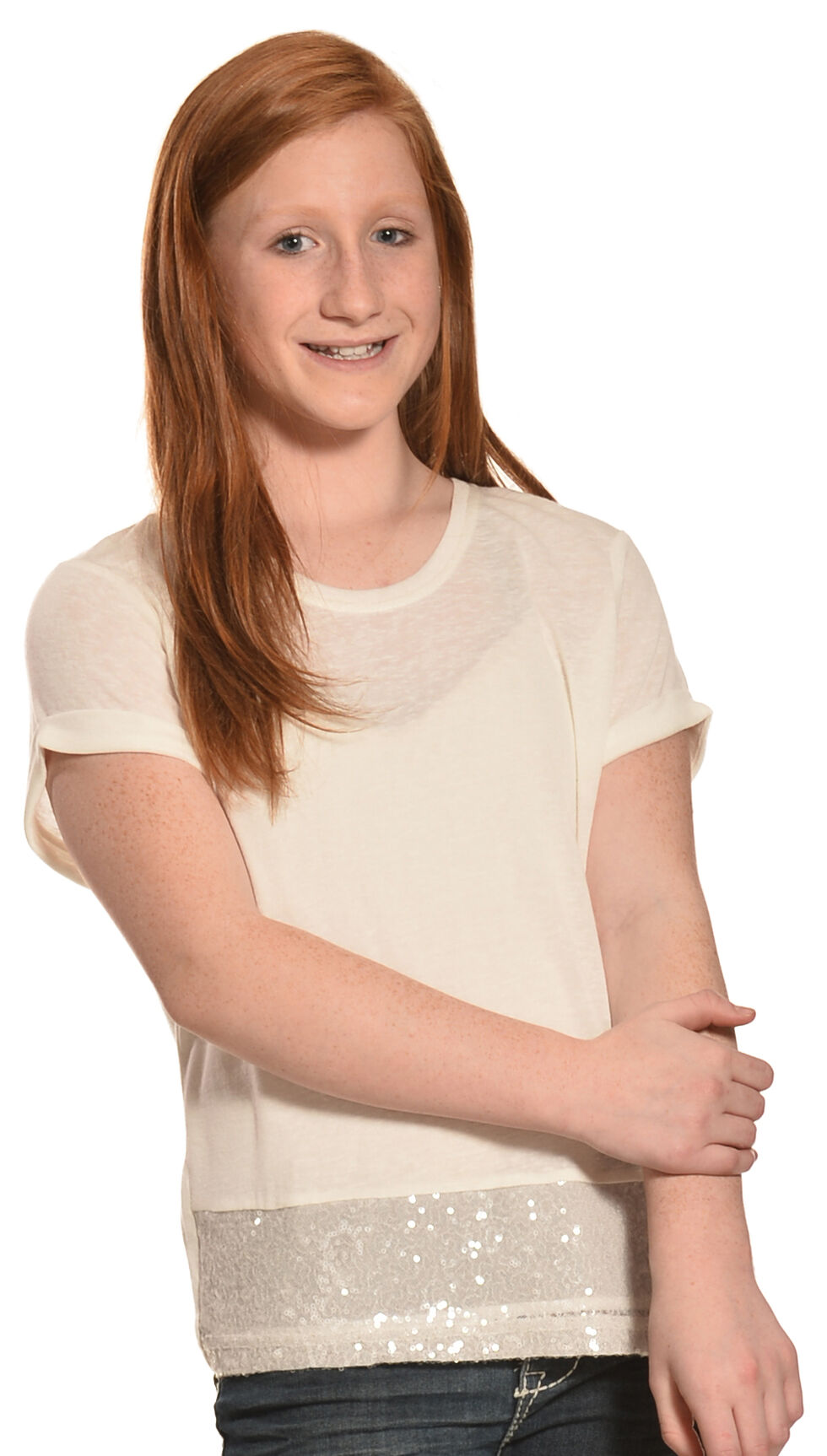 Miss Me Girls' Double Trouble Top, White, hi-res