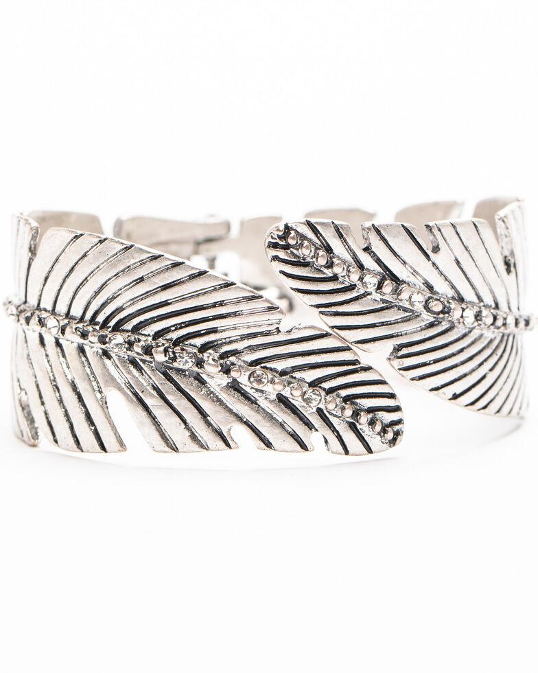 Shyanne Women's Autumn Leafy Hinged Cuff Bracelet , Silver, hi-res
