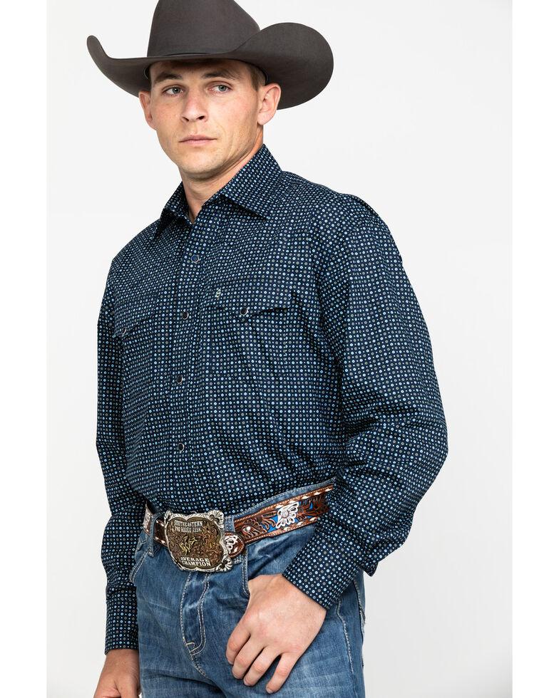 Stetson Men's Circle Geo Print Long Sleeve Western Shirt , Blue, hi-res