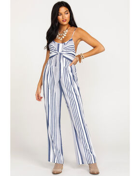 Wrangler Women's Striped Tie Front Jumpsuit, Navy, hi-res