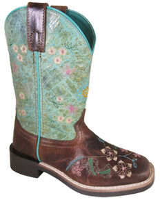 Smoky Mountain Girls' Wildflower Western Boots - Square Toe, Brown, hi-res