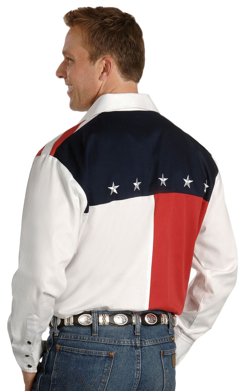 Scully Patriotic American Flag Colorblock Western Shirt - Big & Tall, Blue, hi-res