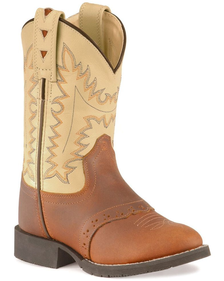 Old West Boys' Cowboy Boots - Round Toe, Brown Multi, hi-res