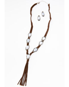 Shyanne Women's White Falls 7-Stone Y-Necklace Set, Silver, hi-res