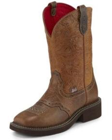 Justin Women's Starlina Tan Western Boots - Square Toe, Brown, hi-res