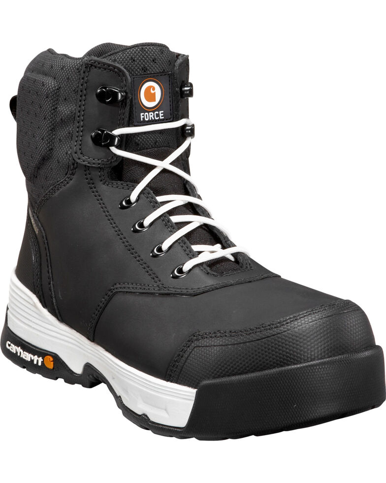 "Carhartt Force Men's 6"" H2O Black Work Boots - Composite Toe, Black, hi-res"