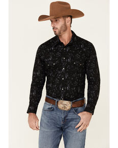 Dale Brisby Men's Black Southwestern Scene Print Long Sleeve Snap Western Shirt , Black, hi-res