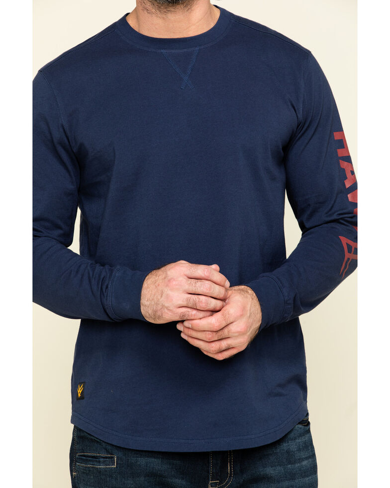 Hawx Men's Navy Sleeve Logo Long Sleeve Work T-Shirt , Navy, hi-res