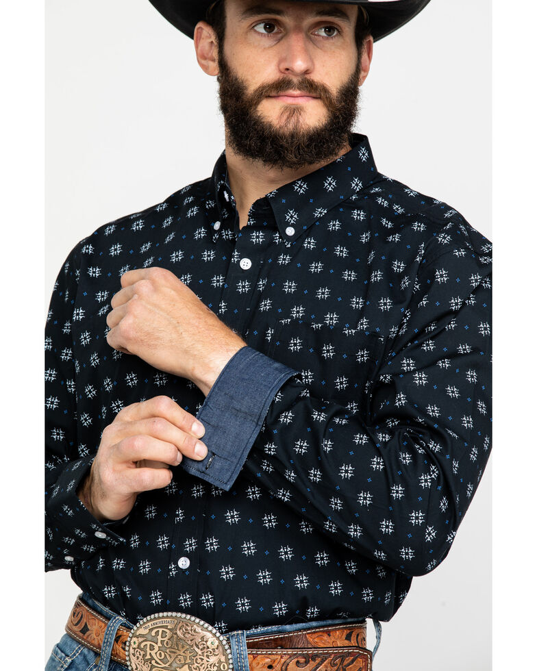 Cody James Core Men's Bull Geo Print Long Sleeve Western Shirt , Black/white, hi-res