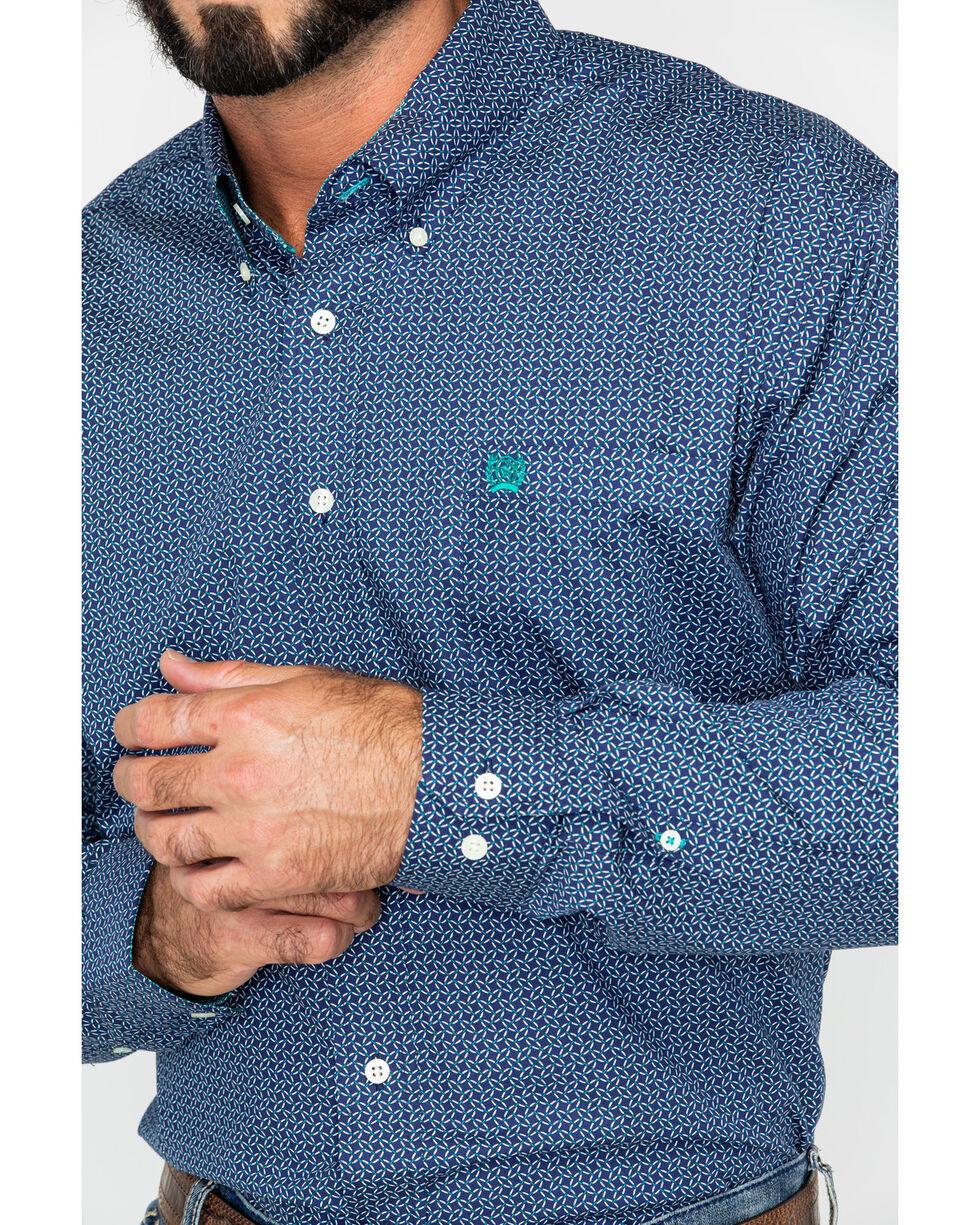 Cinch Men's Navy Geo Print Long Sleeve Western Shirt , Navy, hi-res