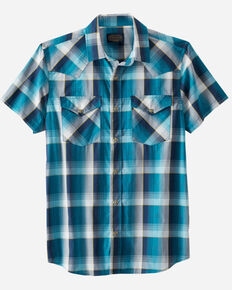 Pendleton Men's Turquoise Frontier Small Plaid Short Sleeve Snap Western Shirt , Turquoise, hi-res