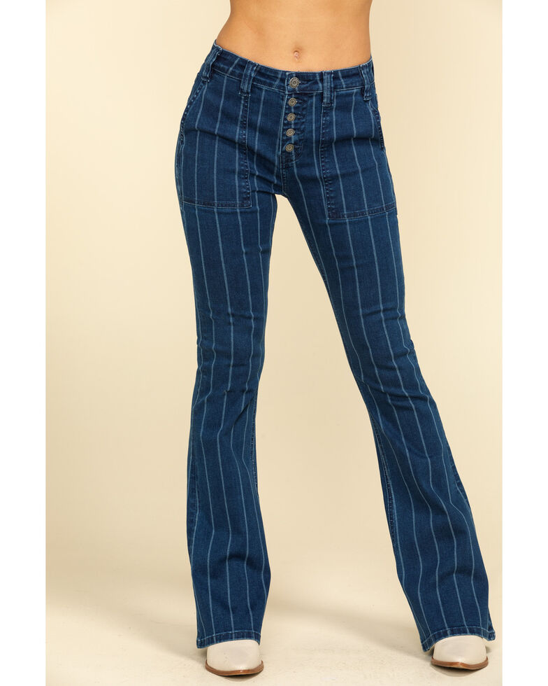 Rock & Roll Denim Women's Stripe Flare Jeans , Blue, hi-res