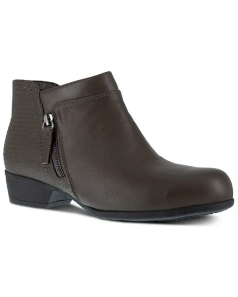 Rockport Women's Charcoal Carly Work Booties - Alloy Toe, Charcoal, hi-res