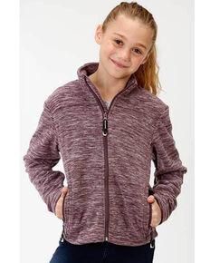 Roper Girls' Purple Micro Fleece Jacket, Purple, hi-res