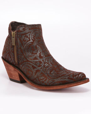 Liberty Black Women's Split Brown Western Booties - Pointed Toe, Brown, hi-res
