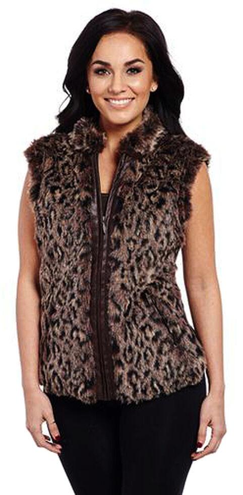 Cripple Creek Women's Leopard Sweater Vest, Brown, hi-res