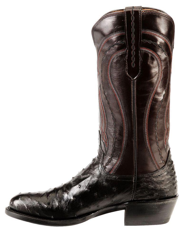 Lucchese Handmade 1883 Full Quill Ostrich Montana Cowboy Boots - Medium Toe, Black, hi-res