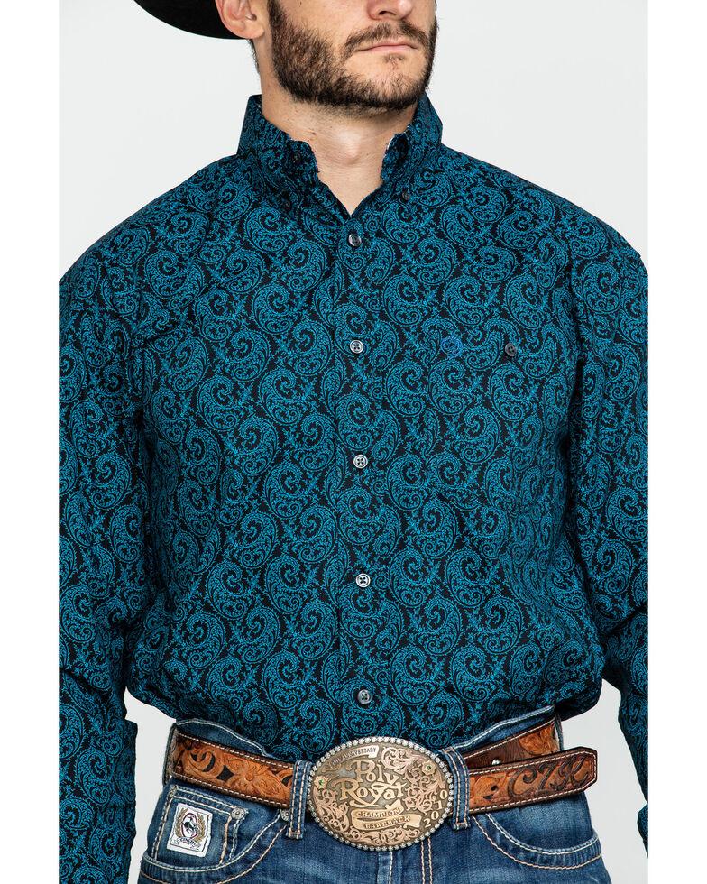 George Strait By Wrangler Men's Large Paisley Print Long Sleeve Western Shirt  , Black/turquoise, hi-res
