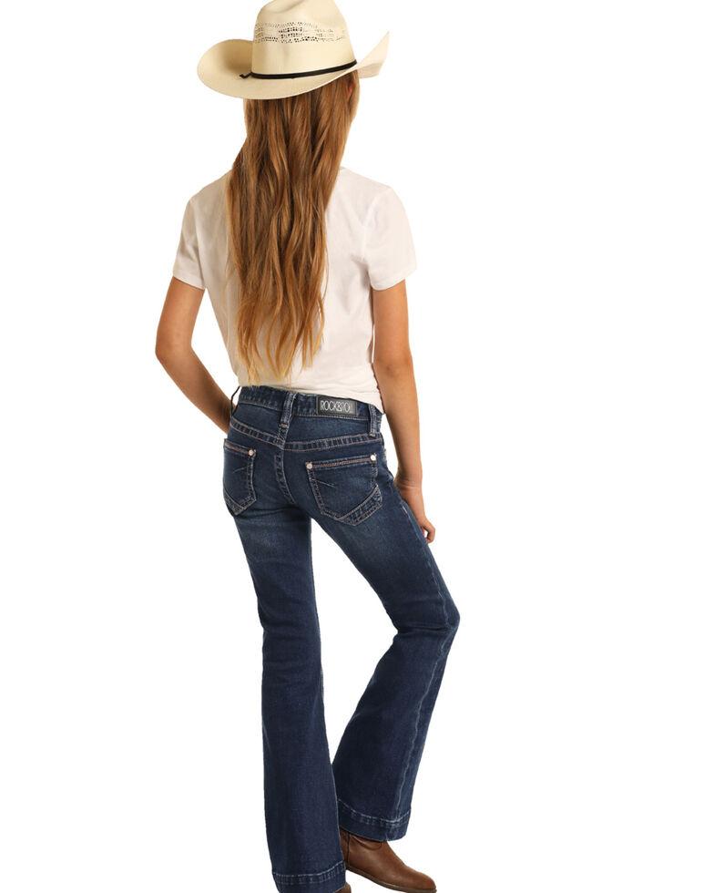 Rock & Roll Denim Girls' Dark Basic Trouser, Blue, hi-res