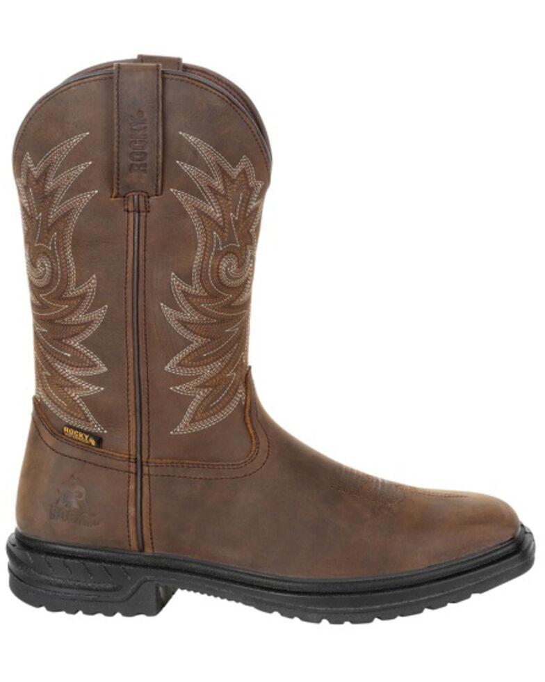 Rocky Men's Worksmart Waterproof Work Boots - Square Toe, Brown, hi-res