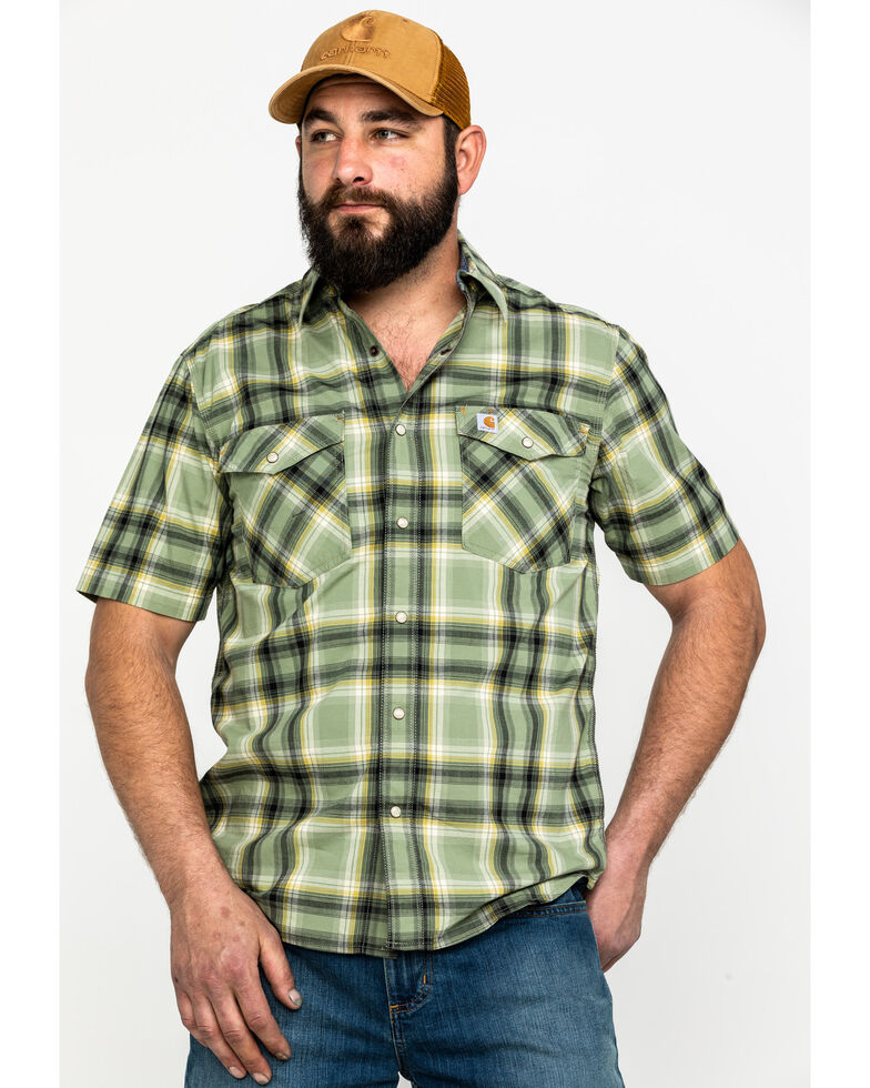 Carhartt Men's Green Solid Rugged Flex Rigby Short Sleeve Work Shirt - Big , , hi-res