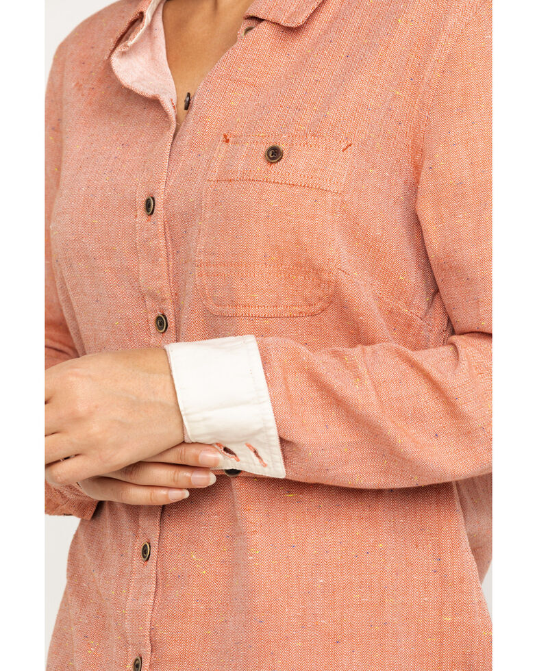 Dovetail Workwear Women's Solid Givens Long Sleeve Work Shirt, Coral, hi-res