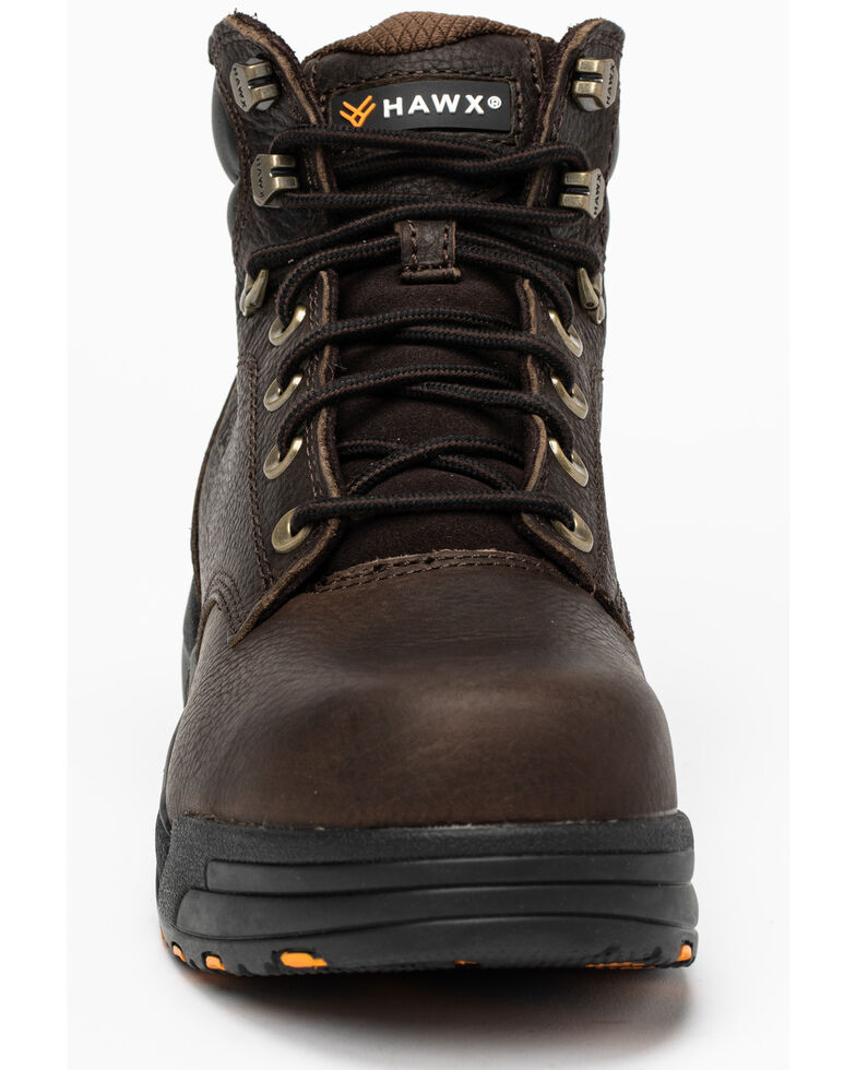 Hawx Men's Chocolate Blucher Work Boots - Nano Composite Toe, Brown, hi-res