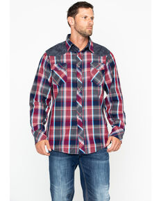 Roper Men's Plaid Flower Yolk Long Sleeve Western Shirt , Red, hi-res