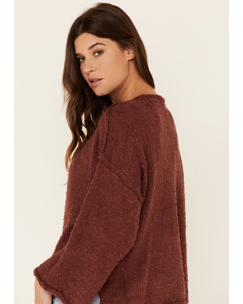 Very J Women's Knit Hi-Low Bell Sleeve Sweater , Rust Copper, hi-res