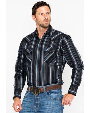 Ely Cattleman Men's Textured Stripe Long Sleeve Western Shirt , Black, hi-res