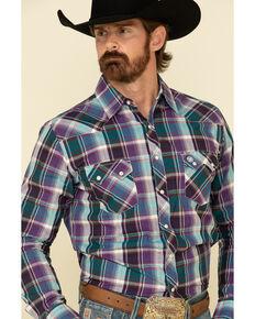 Wrangler Retro Men's Multi Large Plaid Snap Long Sleeve Western Shirt , Multi, hi-res
