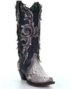Corral Women's Python Overlay Western Boots - Snip Toe, Black, hi-res