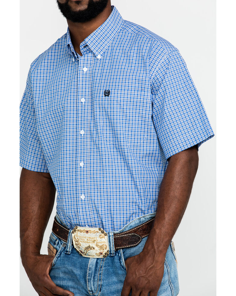 Cinch Men's Blue Small Plaid Short Sleeve Western Shirt , Blue, hi-res