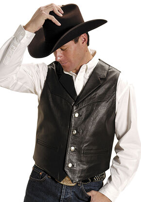 Roper Men's Nappa Notched Collar Leather Vest - Big & Tall, Brown, hi-res