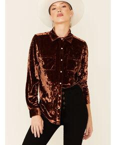 Rock & Roll Denim Men's Solid Brown Crushed Velvet Long Sleeve Snap Western Shirt , Brown, hi-res