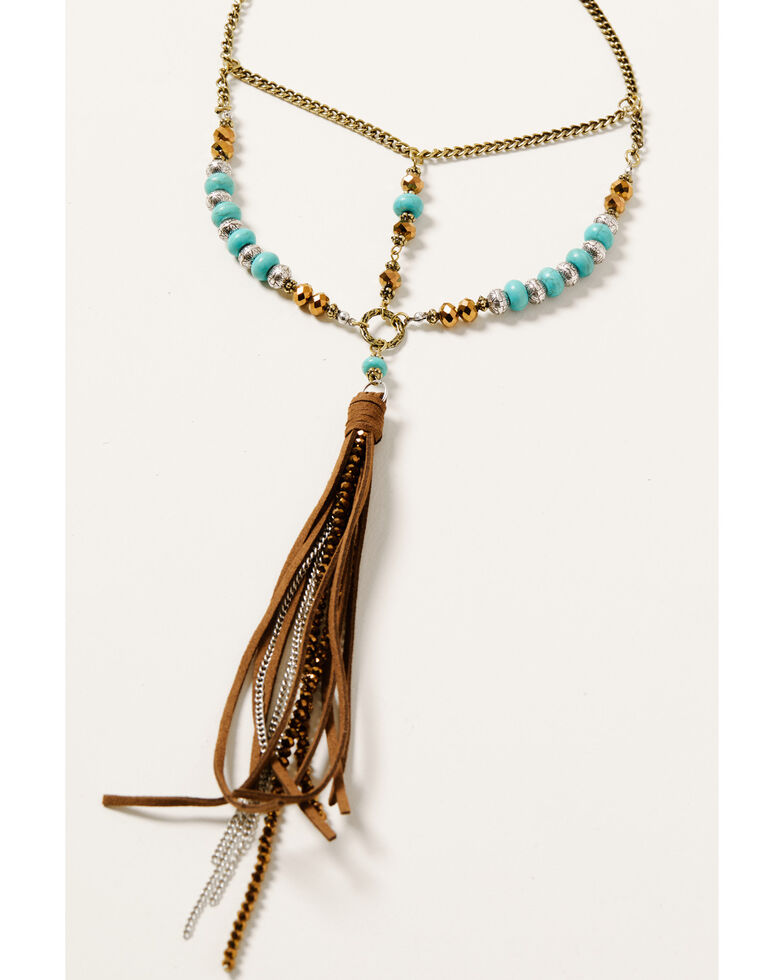 Shyanne Women's Beaded Leather Tassel Necklace, Silver, hi-res